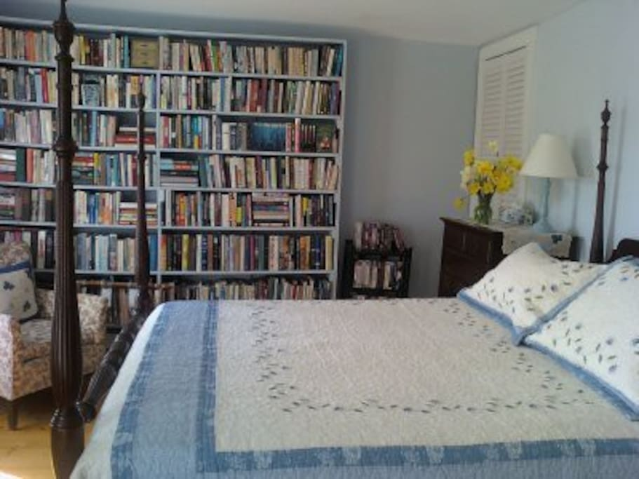 Library bedroom with queen size bed