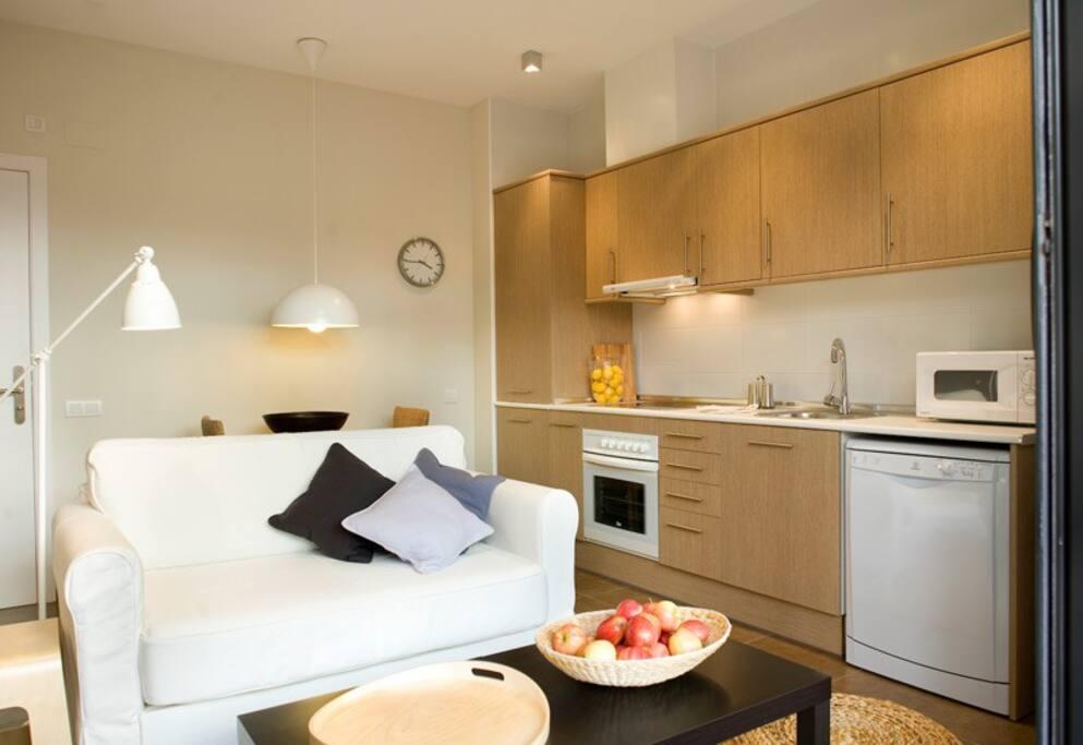 Spectacular apartment with terrace appartamenti serviti for Appartamenti barcellona affitto economici