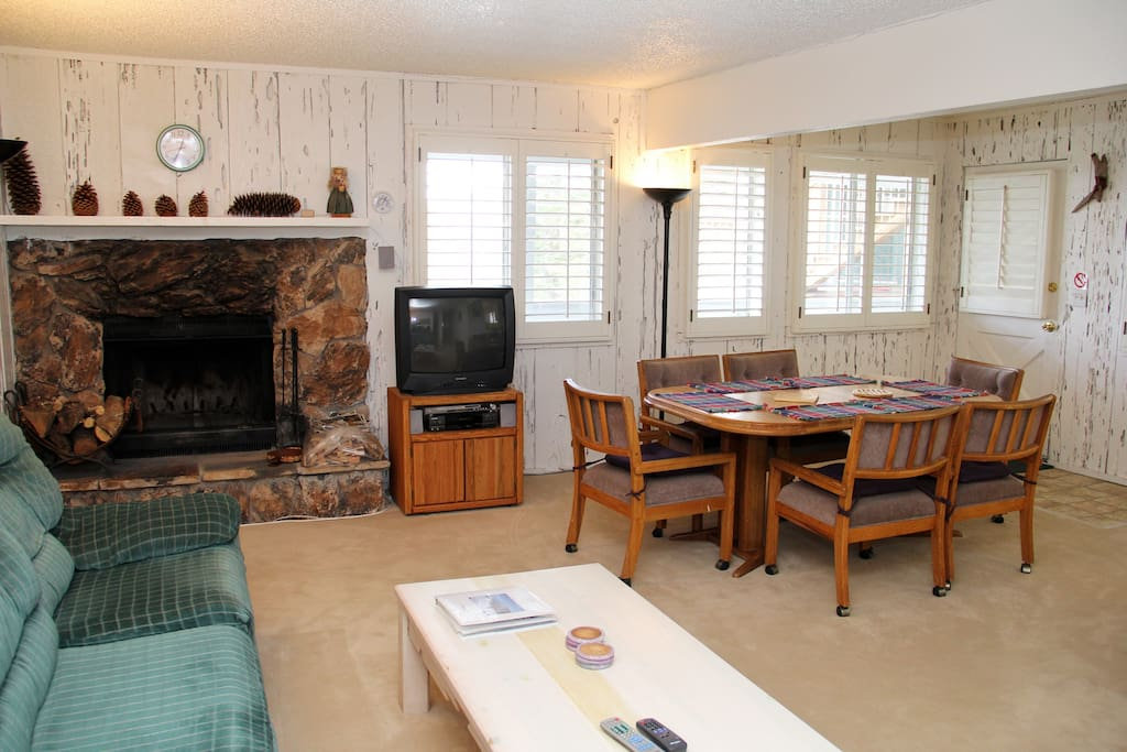 Swivel the TV to enjoy the surround sound DVD system from dining room or living room.