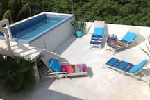 Rooftop Pool with sweeping view of the mangrove jungle.