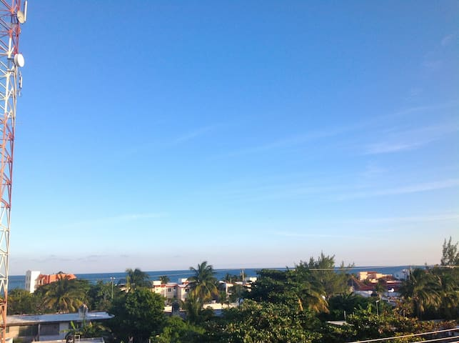 3 minute stroll to the beach and Caribbean Sea, as seen from roof terrace.