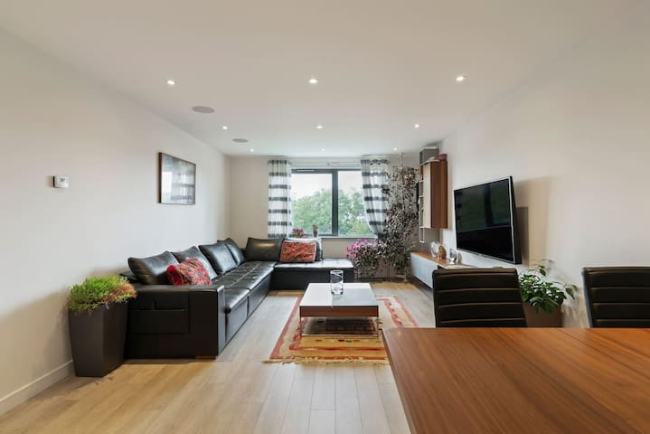 Spacious Living Room with Large Screen TV and Audio System
