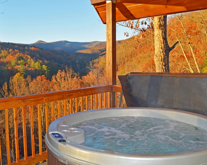 Ski mountain view from the hot tub & deck