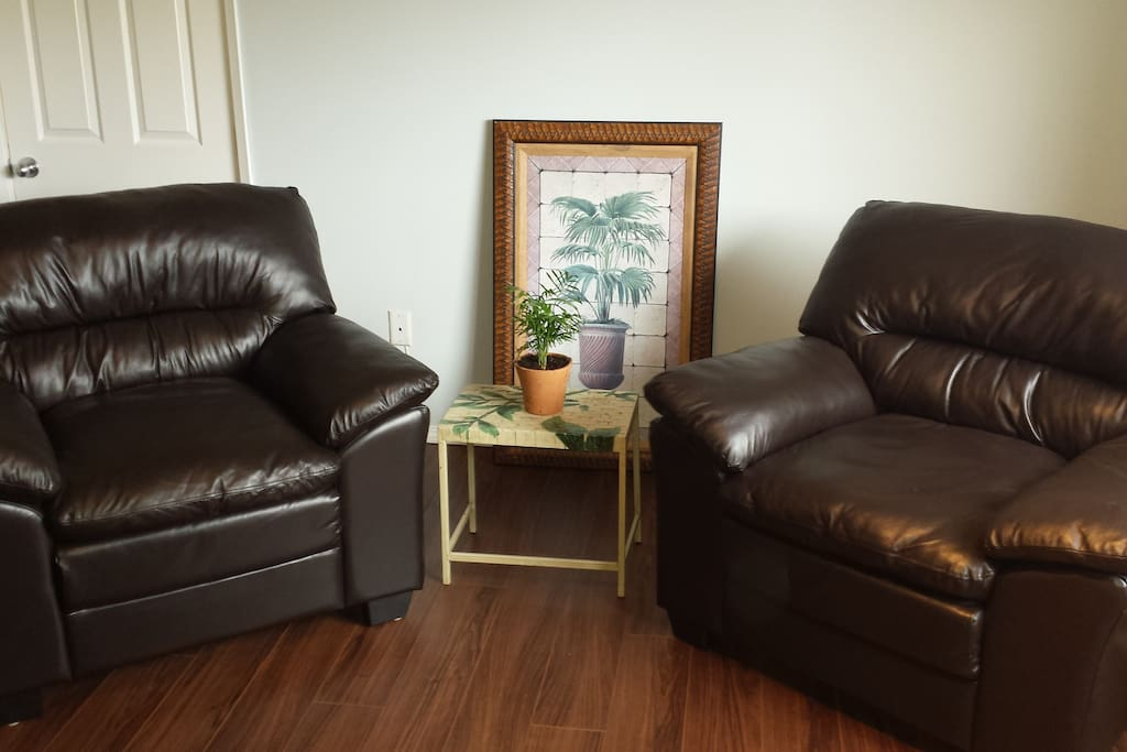 living room with comfy leather sofas