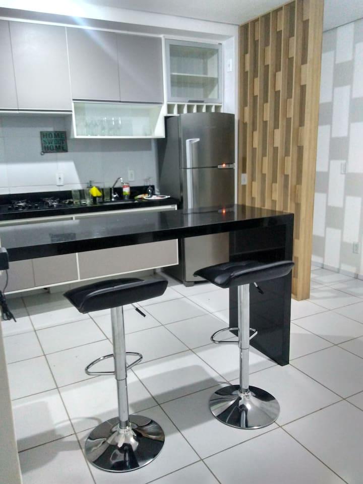 espaço integrado cozinha/ sala