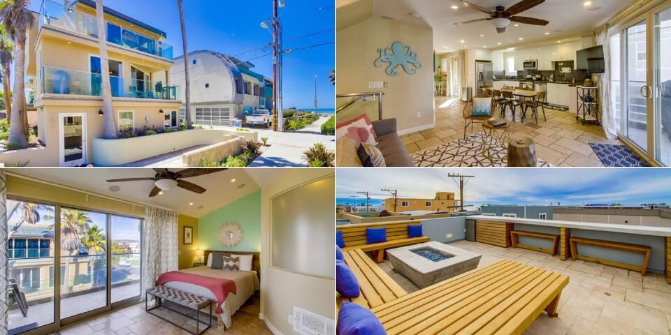 Ocean Views, Rooftop Deck, Firepit,hammock chairs
