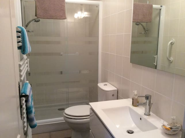 Large shower, heated towel rail, washbasin and toilet. Fully tiled.