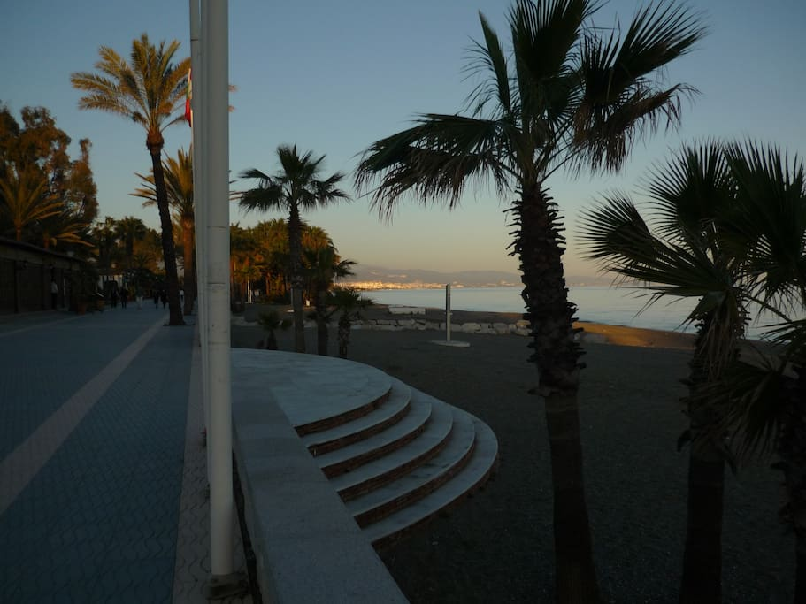Steps from Promenade leading to the Beach with side view to Puerto Banus