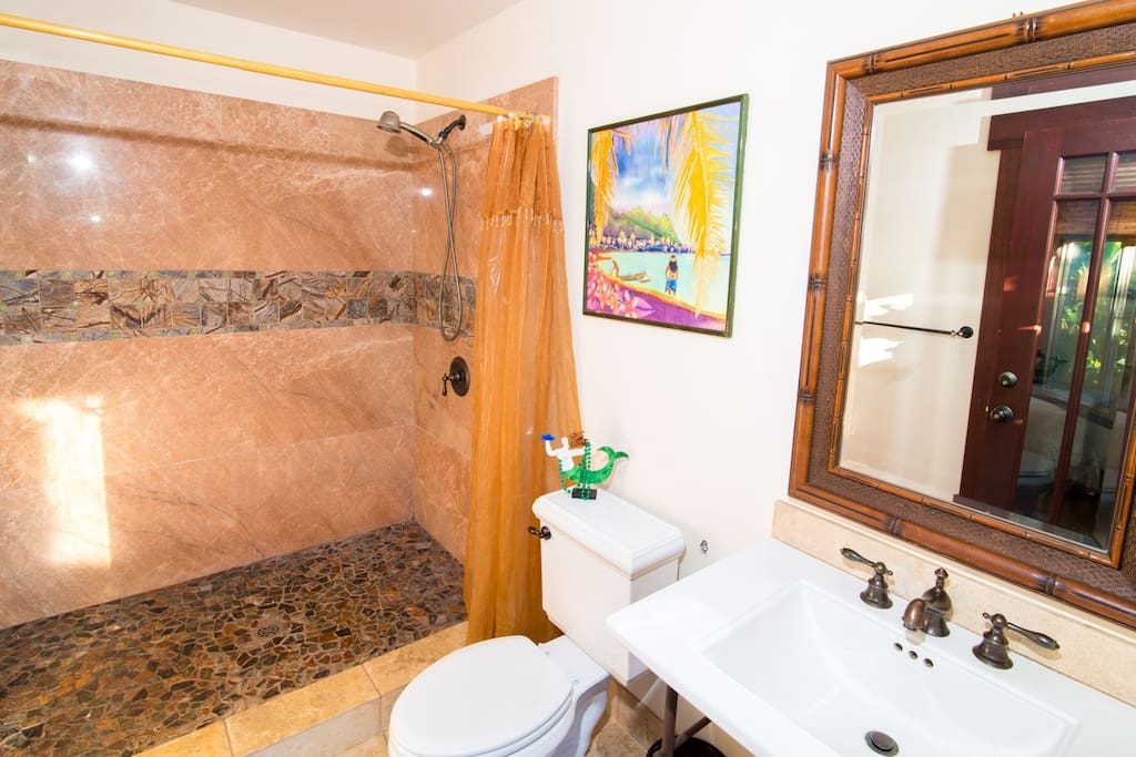 Beautiful marble and travertine bathroom.