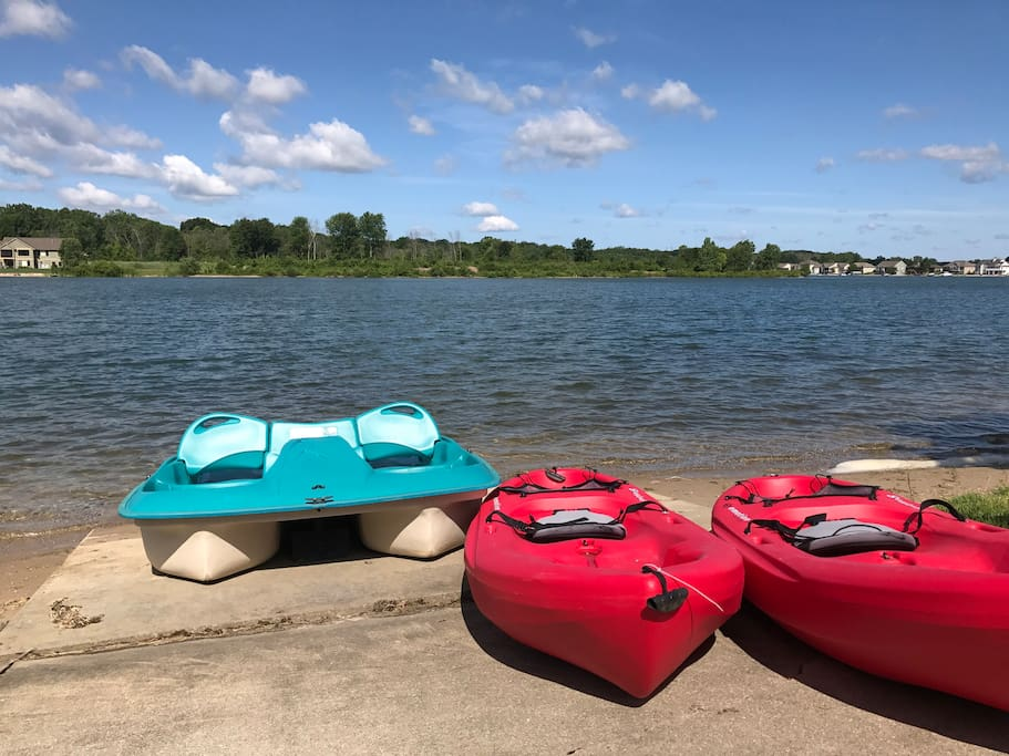 Kayaks, SUPs, and paddle boat are complimentary. Use safely.