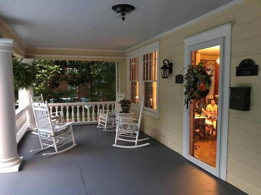 Front porch with 4 Rocking Chairs