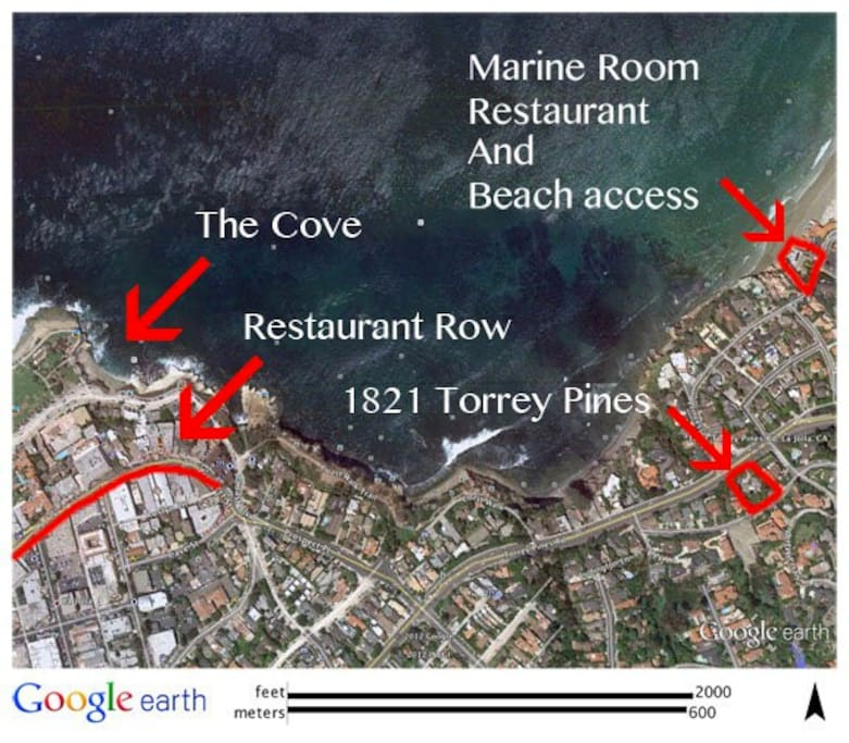Less than 1/3 mile to beach access at La Jolla Shores.1/2 mile to start of Restaurant Row (in the Village). 2/3 mile to world famous La Jolla Cove. Although not marked, scenic Coast Walk starts half-way between residence and La Jolla Cove.