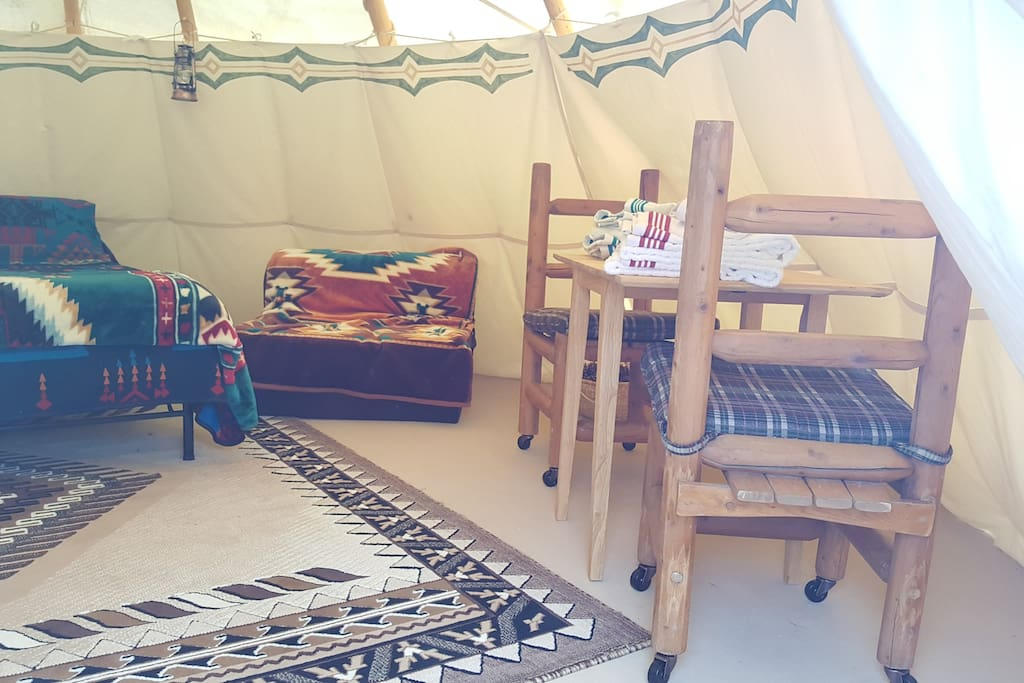 Interior of one of our Tipis