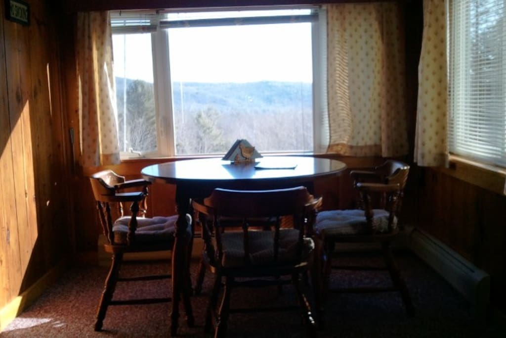 Dining room with mountain view.