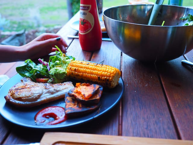 Gourmet BBQ at the bell tent