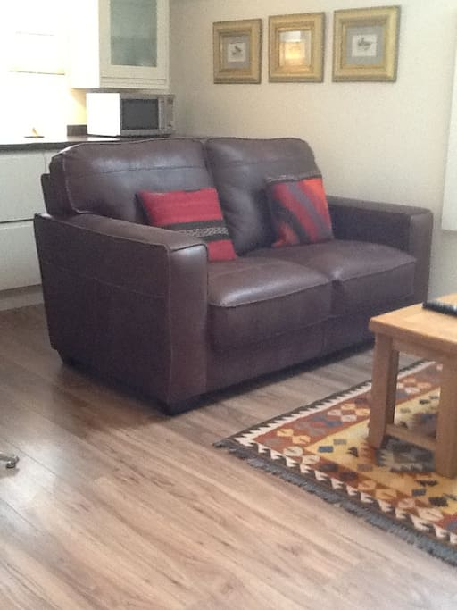 Beautiful comfortable leather two-seater sofa in the living area (with ample kitchen space behind).