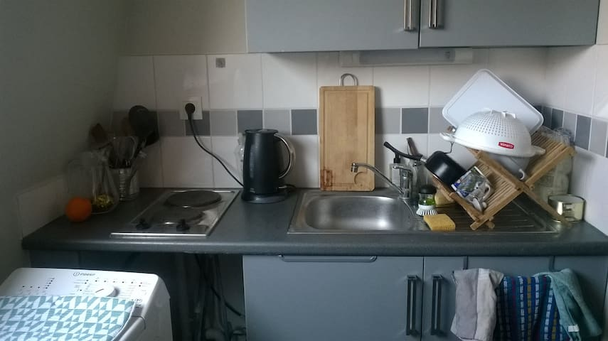 Cuisine aménagée. Plaques électriques, frigo et micro-onde. Avec machine à laver le linge.