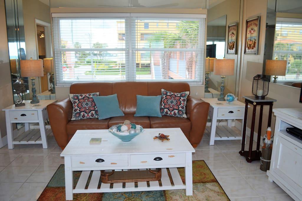 Spacious living room with comfortable furnishings