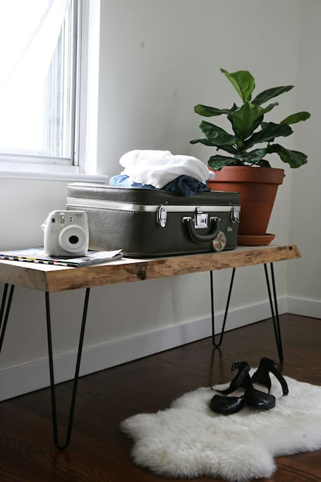 Use our live edge benches for your luggage