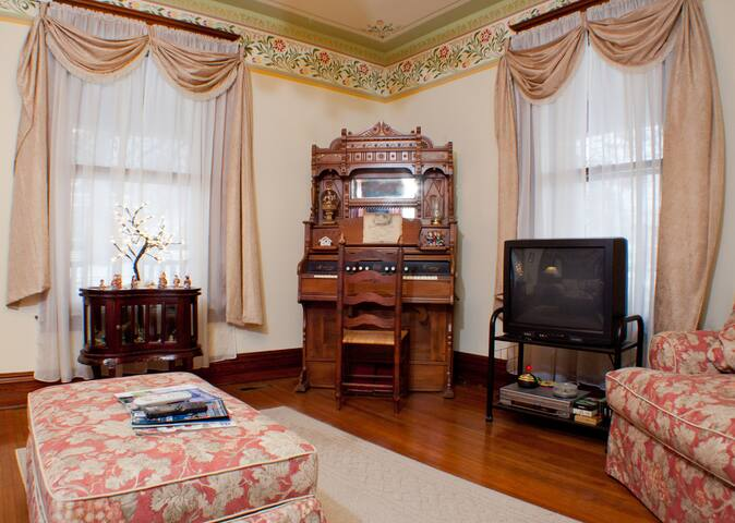 The Parlor is a great place for families to gather, watch a movie or try your hand at the antique organ.