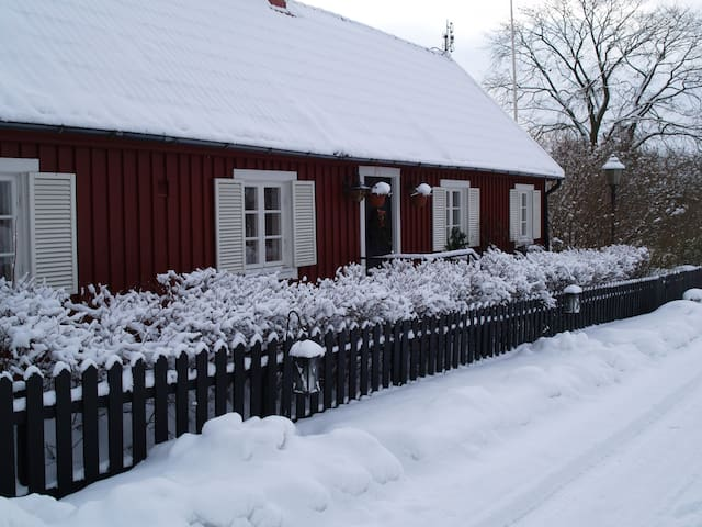 Tosteberga house on the village street in winter view