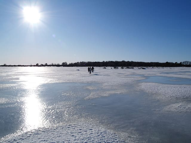 Walks across the frozen Baltic sea to the islands of Skåne's only archipelago in the winter time