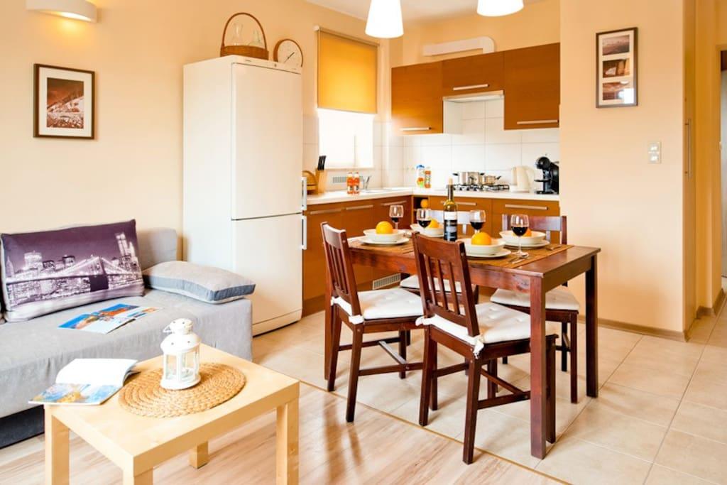 2 pokój z aneksem kuchennym, widok na przedpokój z szafą