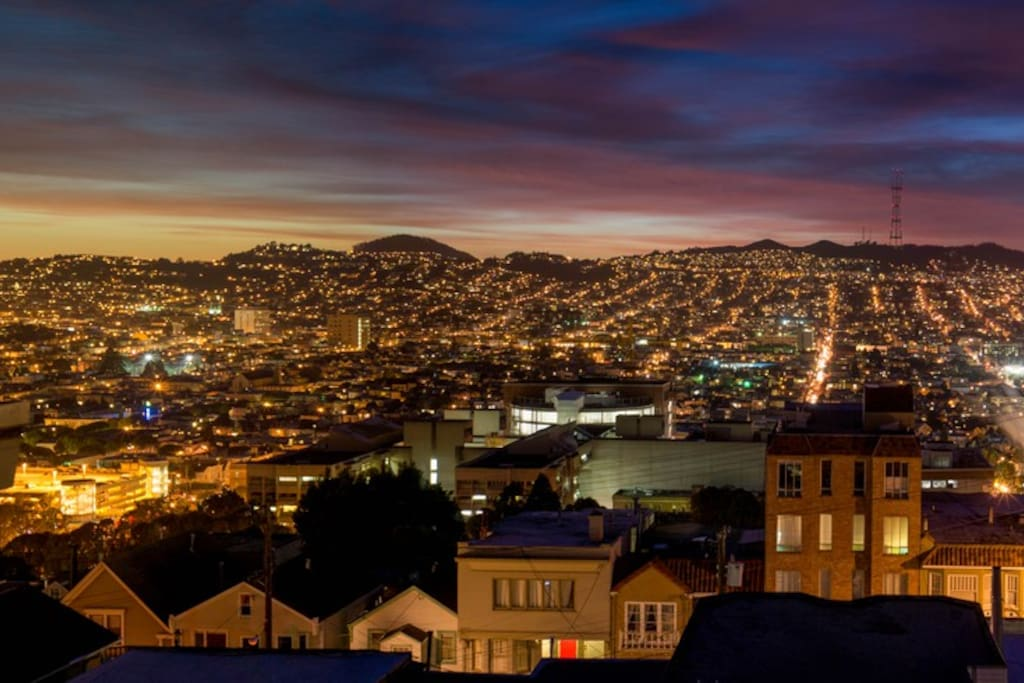 Early evening city lights view