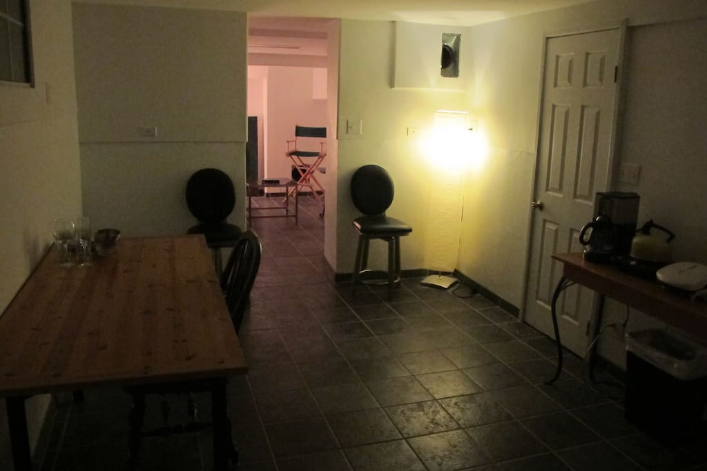 Downstairs private basement kitchen/desk space.  Coffee pot on the right, mini fridge, toaster oven, George Forman Grill