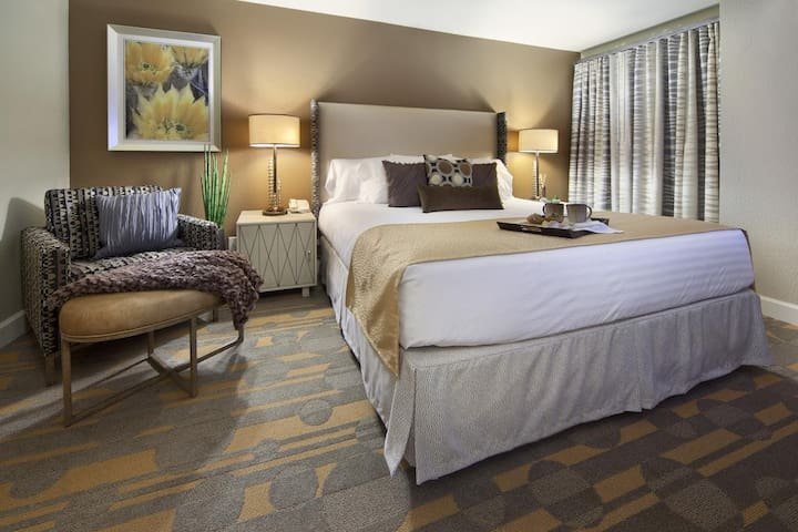 Stylish, clean rooms with comfortable beds for a good night's sleep. *Timeshare property: bed & kitchen type and unit layouts may vary.