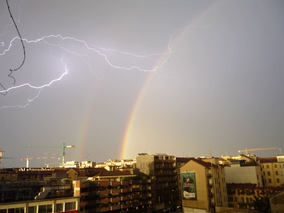 Lightnings and rainbows from the terrace