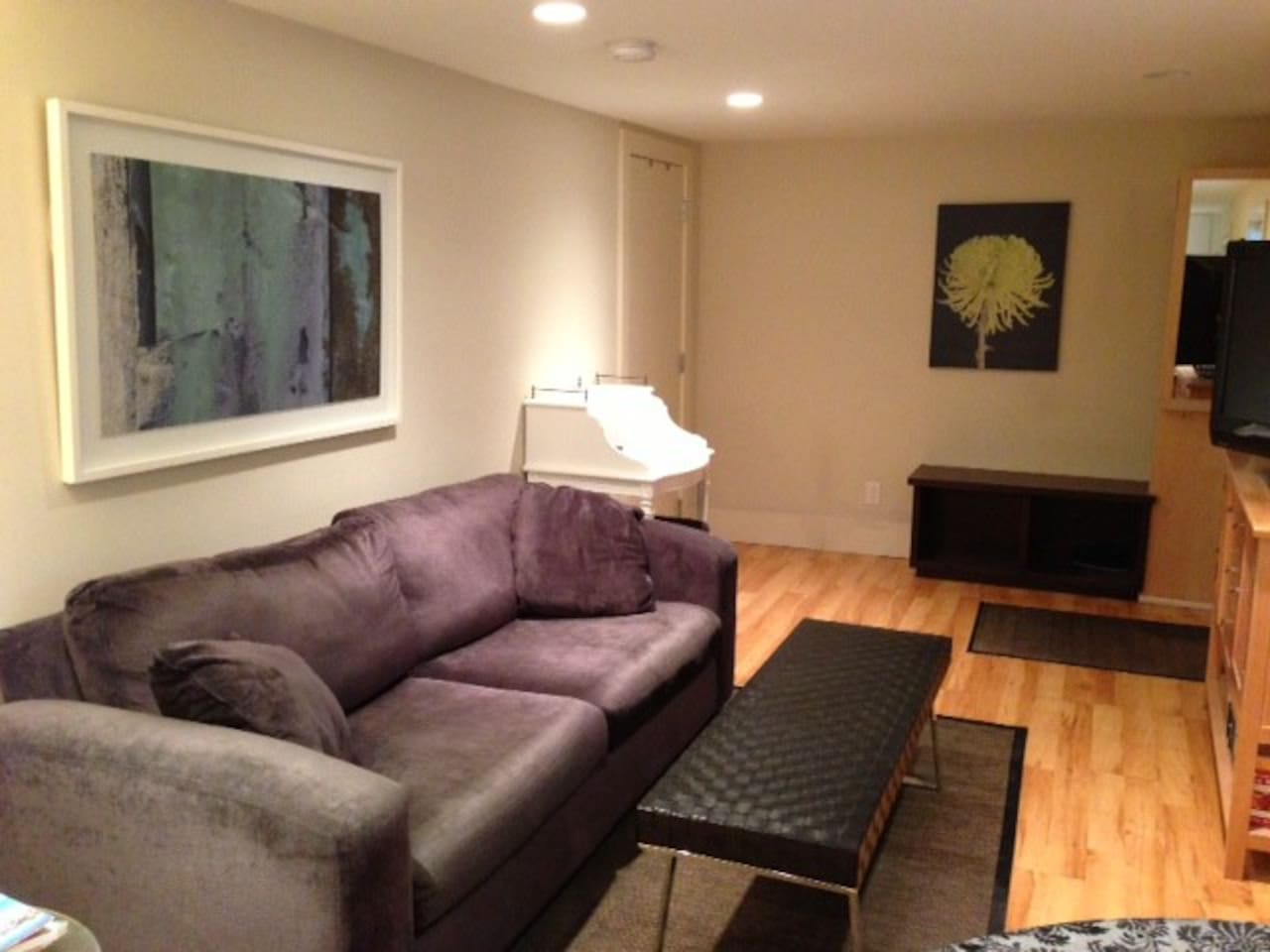"""Living room with 36"""" TV & DVD player and cable. Master bed is door to L, front entrance to R"""