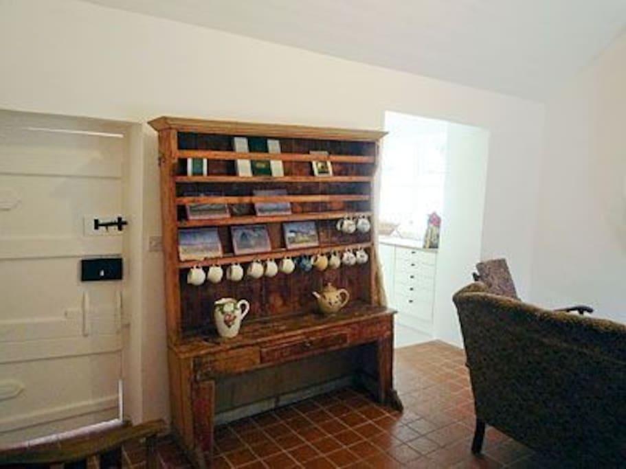 The original back door and dresser