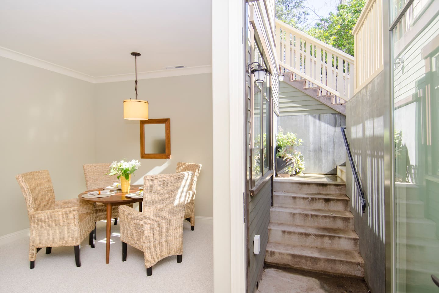 Light and bright basement. Dining Room and private entrance shown.