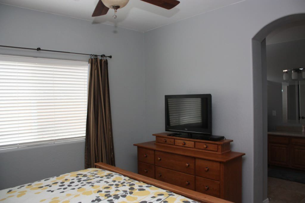 "Master bedroom dresser with 32"" LCD TV and Dish Network"