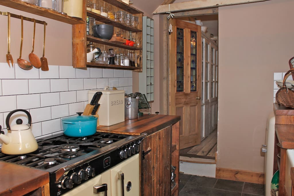 The kitchen has a range cooker & smeg fridge