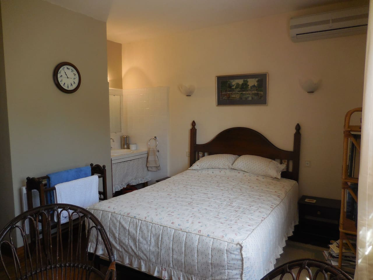 The double room, on the ground floor has a washbasin, French and BritishTV, Tassimo drinks machine, lovely Spanish furniture, heating and air conditioning.  It looks out at the shrubs, fig tree and hedge at the side of the house.