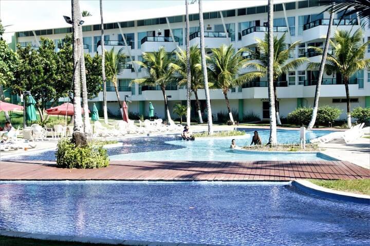 Apartamento 1 quarto em Resort beira Mar com varanda panorâmica - Ancorar Flat Resort