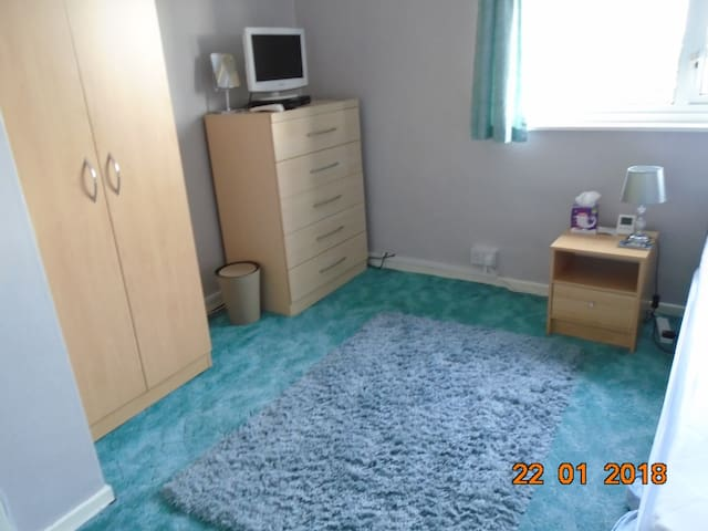 Bedroom with Wardrobe,Chest of drawers,bedside cabinet, TV, mirror, lamp