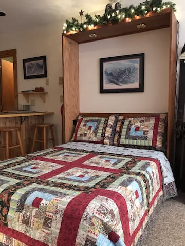 Full size Murphy Bed with Casper Mattress and flannel sheets to help keep you toasty warm