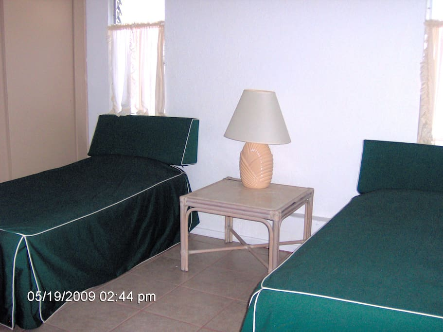 One bedroom with two twin Beds.