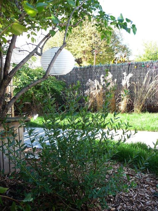 Paysagement sympathique, sentier et luminaires pour passer de belles soirées dans le jardin.