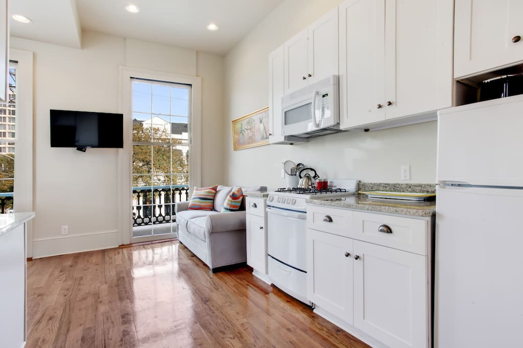 Fully appointed kitchen area.