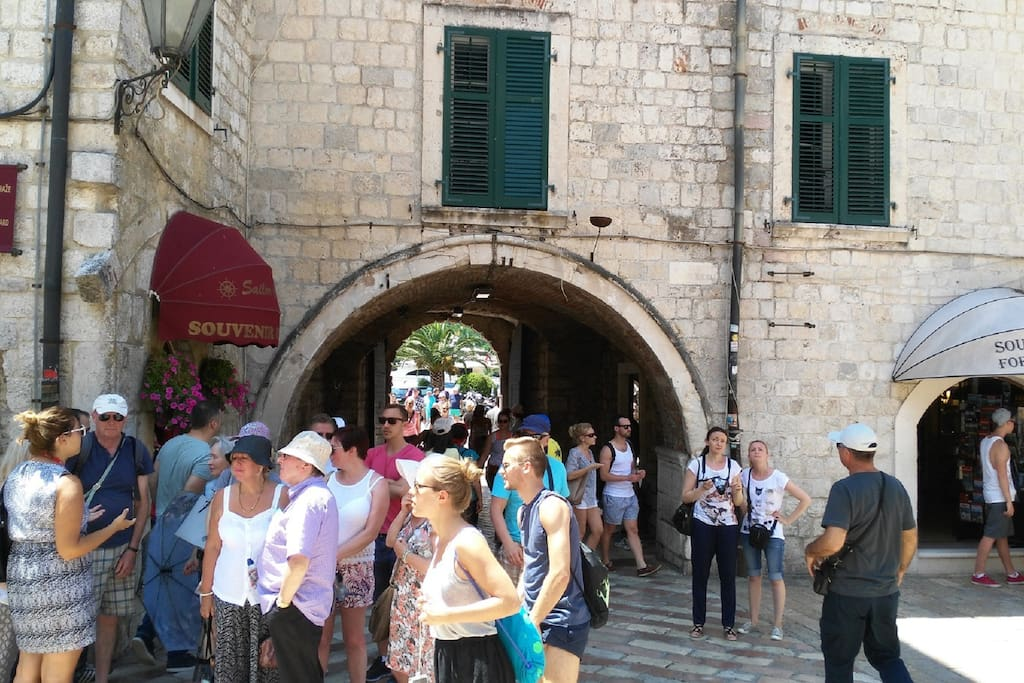Main gate of old town Kotor,distance from apartment 5 min by walk.