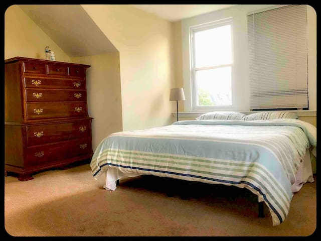 A double bed and chest drawer in this bedroom.