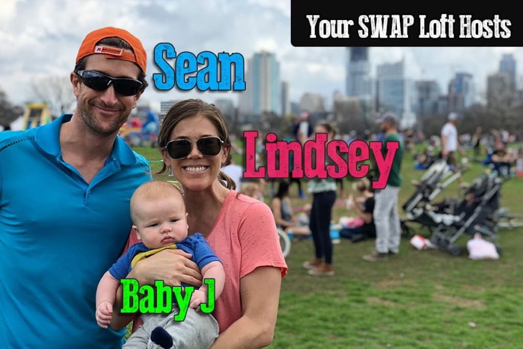 Meet your SWAP Loft hosts - Longtime Austinite and your main contact Sean, SWAP Loft mastermind Lindsey, and our new addition, Baby J - Chief Cuteness Officer  Over 1,400 reviews so we know how to make sure you have a great experience in Austin!