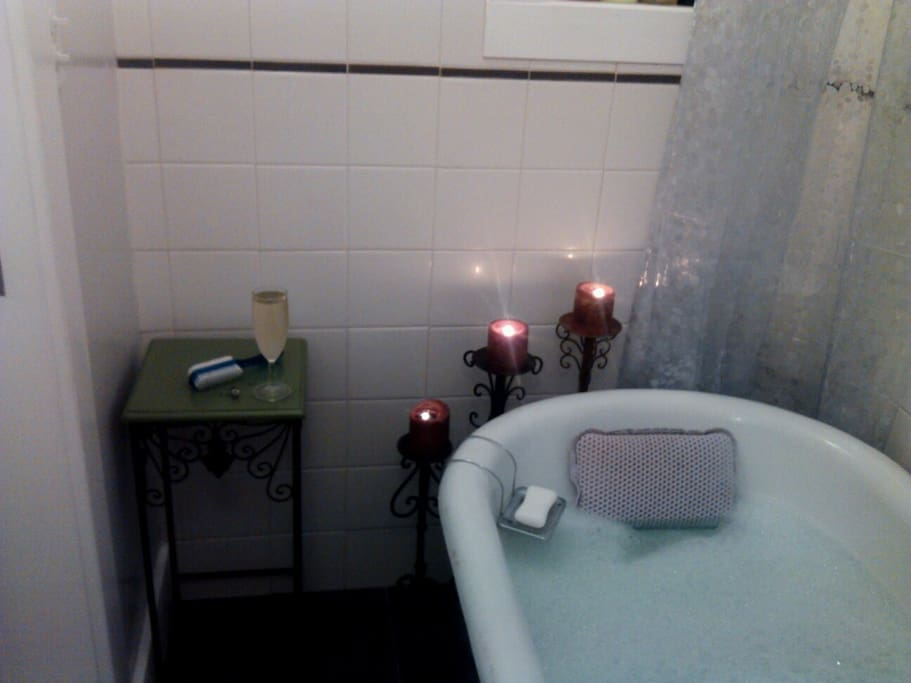Newly Remodeled Bathroom With antique clawfoot tub.