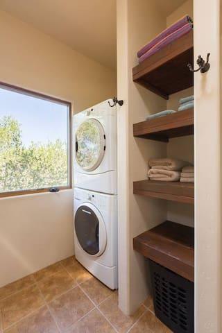 Washer & dryer in Casa de los Sueños casita at Hacienda Felise - important for longer stays or a stop during your coastal road trip.