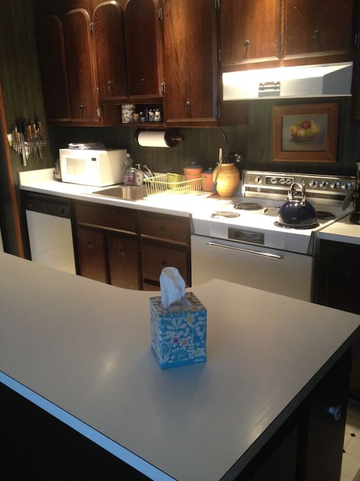 Kitchen: fully equipped with cookware, dishwasher etc. Well lit with island that has stools. Looking out to dining and living rooms.