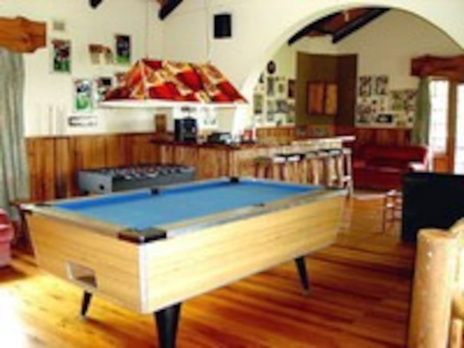 Upstairs entertainment area with pool table